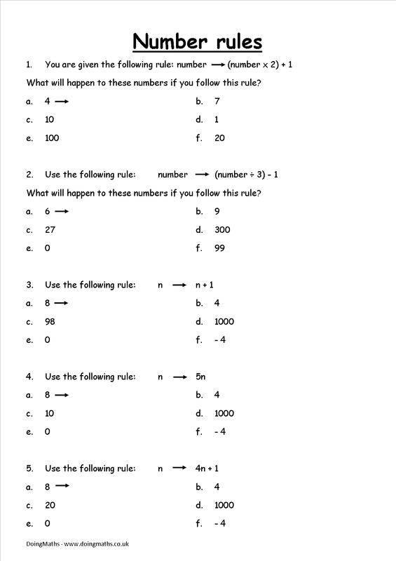 Algebraic expressions and formulae - worksheets and other resources