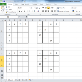 Multiplication grid starter