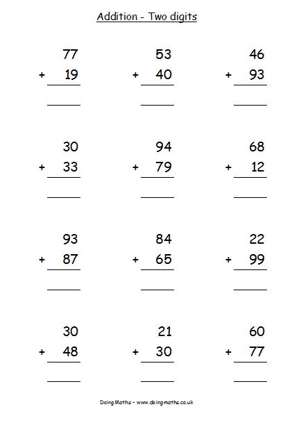 simple double digit addition worksheets - 424×612
