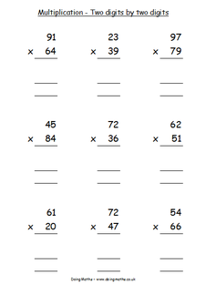 Long multiplication worksheet generator two digits by two digits
