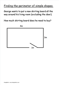 Skirting board functional skills maths perimeter worksheet