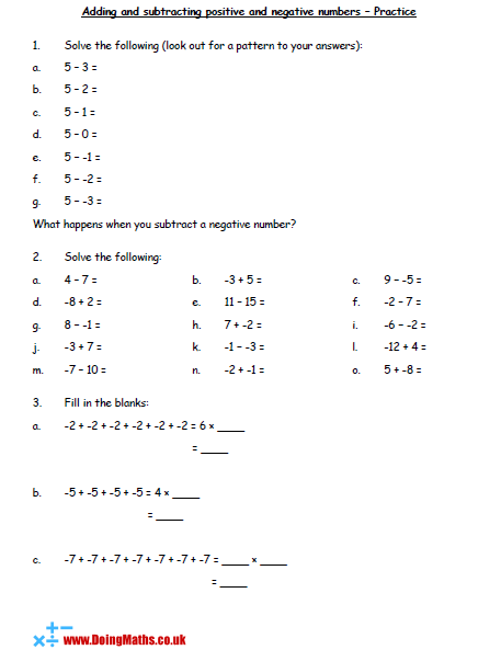 Addition And Subtraction - Free Resources About Adding And Subtracting  Numbers - DoingMaths - Free Maths Worksheets