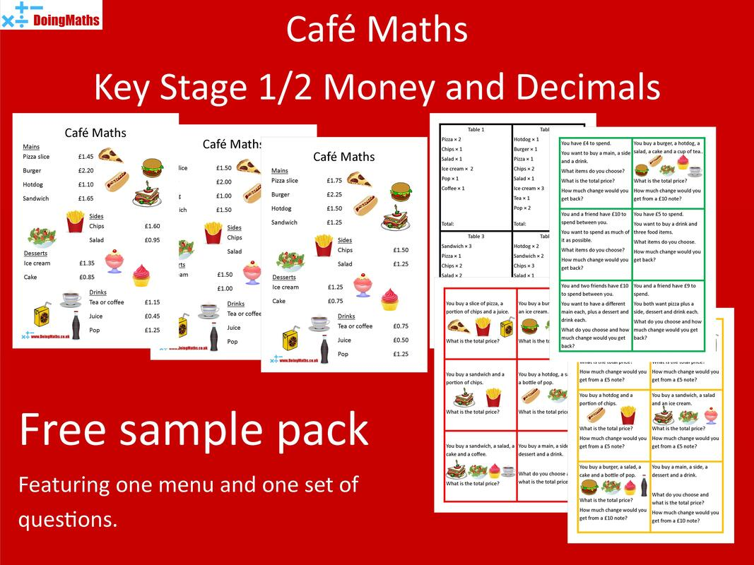 Cafe Maths - Money arithmetic practice