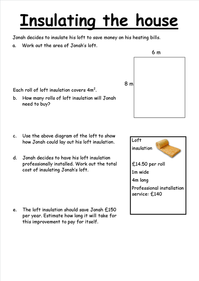 Area functional skills loft insulation worksheet