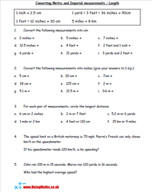 Converting metric and imperial units of measurement maths worksheet