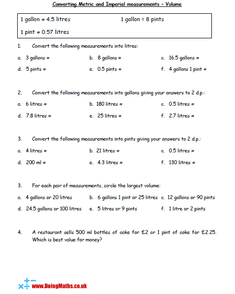 Converting metric and imperial measurements of volume free maths worksheet