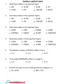 Rounding to significant figures worksheet