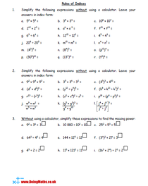 Rules of indices maths worksheet