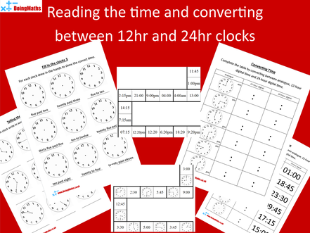Telling the time and converting between 12 hour and 24 hour clocks activity set